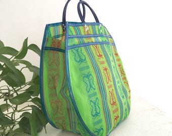 Shopping bag XXL - green/blue butterflies
