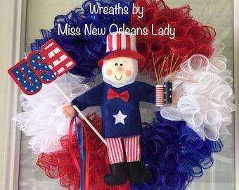 4th of July, Uncle Sam, Patriotic, Memorial Day wreath