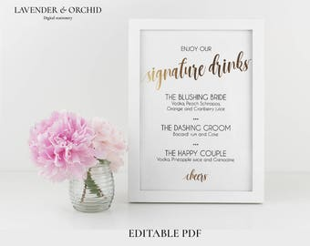 Signature drinks sign, Printable signature drinks gold, Editable PDF, Instant download, Wedding sign template, Wedding drink signs, Gold