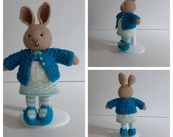 Knitted Turquoise Bunny Rabbit