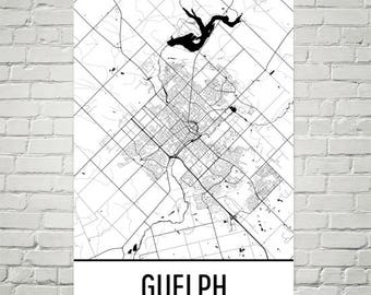 Guelph Map, Guelph Art, Guelph Print, Guelph ON Poster, Guelph Wall Art, Ontario Gifts, Map of Ontario, Ontario Poster, Ontario Decor