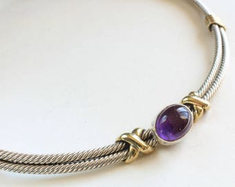 Sterling Silver Collar Choker Necklace Torc Amethyst Brass