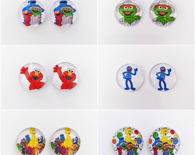 The 'Sesame Street' Glass Earring Studs