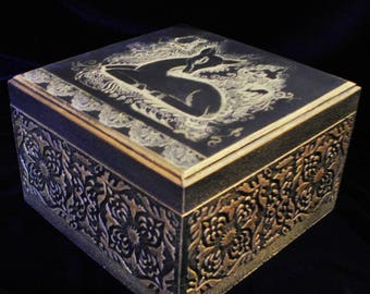 Tea box, box, tea wooden box, box compartments, Antelope d'Or.