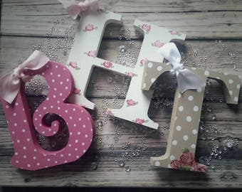 Wooden letters.. gift bag..Birthday...Christmas..shabby chic..roses...ribbon. .free postage..