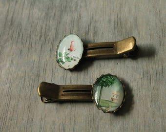 "Pair of hair clips set ""Alice dreams"""