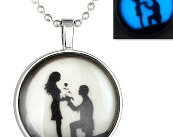 Marriage proposal / glass cabochon necklace