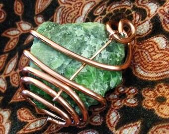 Copper wrapped Green Quartz