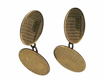 1920s Rolled Gold Geometric Design Vintage Cufflinks