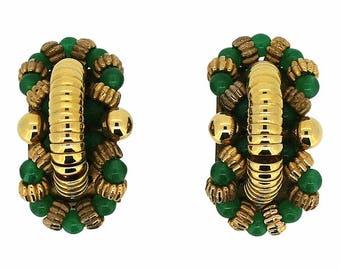 Carven 1960s Green Glass Vintage Earrings