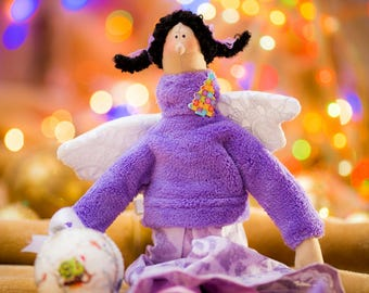 Handmade Doll / Christmas Doll / Soft Doll / Cute / Tilda / Purple