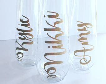 GLITTER GOLD Personalized Stemless PLASTIC Champagne Flute - Bridal - Bachelorette - Shower - Tossware -Wedding Flutes - Champagne Flutes -
