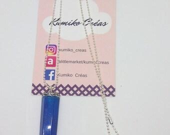 Resin Necklace blue hexagonal shape