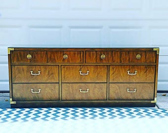 Vintage Mid Century Modern Hollywood Regency Campaign Huntley Dresser Credenza by Thomasville
