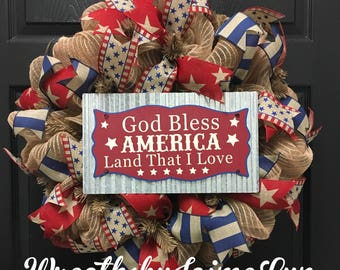 Patriotic Wreath, Summer Wreath, God Bless America Wreath, Front door Wreath, red with and blue Wreath, 4th of July Wreath
