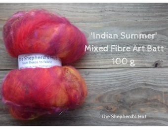 Mixed Wool Art Batt 'Indian Summer' 100 g  3.5 oz