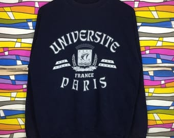 Rare!! UNIVERSITE PARIS France Sweatshirt Spellout Big Logo