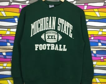 Rare!! MICHIGAN State Football Sweatshirt Spellout Big Logo
