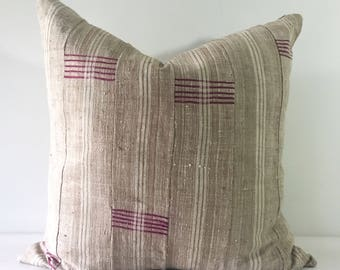 Lami - Beige and White Striped Vintage African Cloth Aso-Oke Pillow, High Quality Italian Linen Back Fabric, Mud Cloth Style