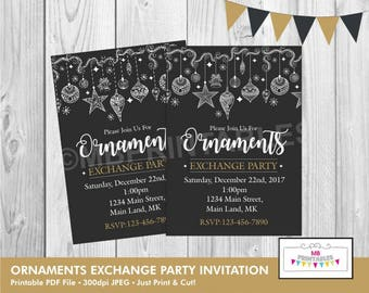 Ornaments exchange Invitation, CHRISTMAS INVITATION, Christmas Party Invitation, Holiday Party Invitation,Christmas Invite, Printable invite