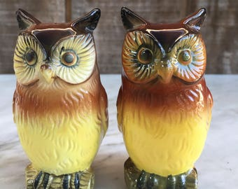Vintage Ceramic Owl Salt and Pepper Shakers // 1950's