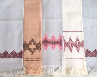 5 Vintage Huckweave Towels // Brown, Gray and White Hand Towels with Huckweave Embroidery // 1960's
