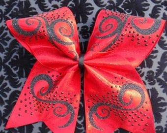 Red and Black Swirls and Cheer Bow with Black Rhinestones