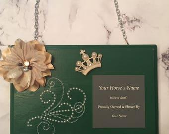 Custom personalized Horse ribbon holder award plaque