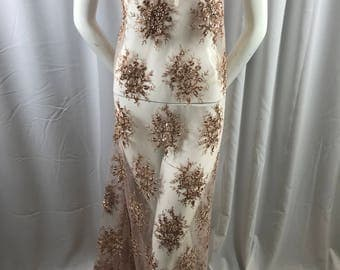 Lace Fabric - Nude Gaviota Design Embroider Beaded Mesh Dress Wedding Decoration Bridal Veil Nightgown By The Yard