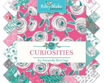 """Curiosities Fabric by Riley Blake - 5"""" square stackers, 42 piece assortment"""