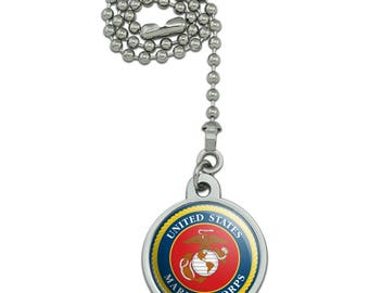 Marines USMC Logo Blue Red Gold Officially Licensed Ceiling Fan and Light Pull Chain