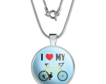 """I Love My Bike Road Bicycle Cycling 1"""" Pendant with Sterling Silver Plated Chain"""