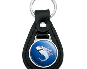 Great White Shark Cartoon in Ocean Black Leather Keychain