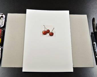 Cherries: Watercolor, spring drawing, original with embossing by Marc-M. J. Wolff-Rosary