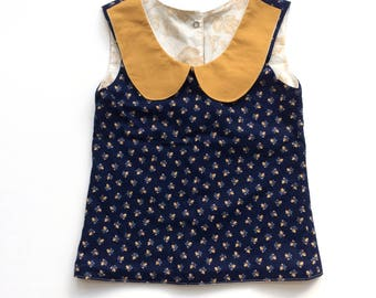 Navy and Mustard Peterpan Collar Top
