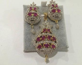 Indian Bollywood American Diamond AD Party Wear Jhumki Pendant Necklace Jewelry Set