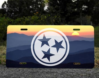 Great Smokey Mountains Tennessee Tri-Star License Plate Choose Your Color NEW Universal Fit Vanity License Plate
