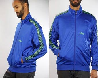 Vintage Windbreaker 90s Windbreaker Streetwear 90s Track Jacket Vintage Track jacket Asics Jacket Men Windbreaker Jacket Blue 90s Jacket Men