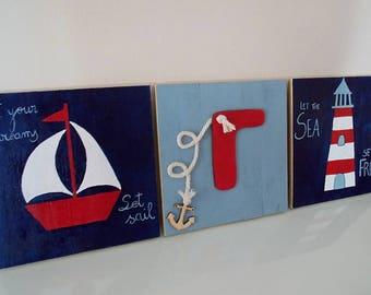 Nursery Nautical Decor, Wood Art, Nautical Wall Art, Baby Boy, Shower Gift, Nursery Decor, 25x25 Wall Art, Wood Art, Red, Blue, Anchor