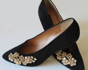 Vintage Black Suede pumps with Swarovski stones
