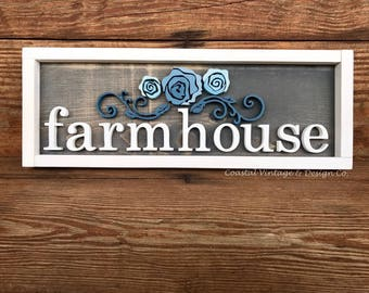 Hnadcrafted Wood Sign FARMHOUSE with Blue Floral Wall Art Flowers Farmhouse Style