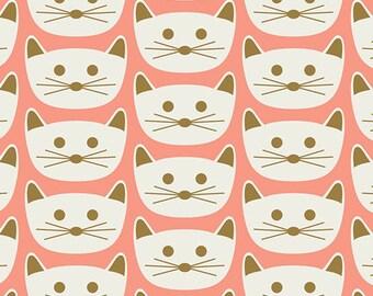 "Blush ""Cat Nap Pink"" Art Gallery Fabrics by Dana Willard-Animal Print,Cat,Pink,Choose your cut-Girl Fabric"