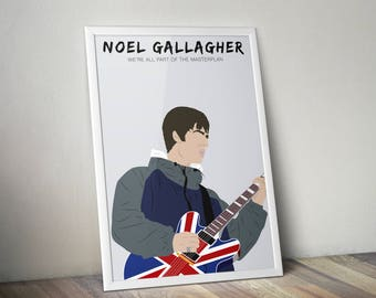 Noel Gallagher A3 Print, Oasis Music Poster, Live Forever home decor