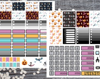 Halloween Hourly 2 Page Kit-Hourly 2 Page Planner Sticker Kit-Halloween Hourly Kit-Halloween Sticker Kit-Compatible with Most Large Planners