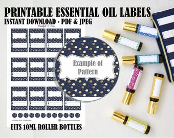 Printable Essential Oil Labels - 10ml Rollerball Balloon Pattern