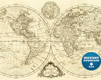 Digital Old World Map Hight Printable Download Vintage - High resolution us map download