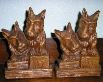 Vintage 40s, scottie, terrier, dog book ends, syroco wood, MINT