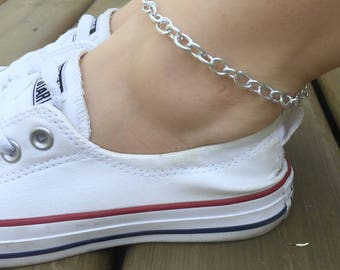 Thick Silver Anklet, Thick Chain Anklet, Male Anklet, Chunky Anklet, Thick Anklet, Wide Chain Anklet, Chainmail Anklet, Thick Ankle Bracelet