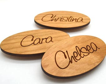 Oval Wood Name Tag, Laser Engraved Magnetic Name Tag