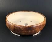 "Ceramic Bonsai Pot Shades of Brown 6.5"" x 2"""